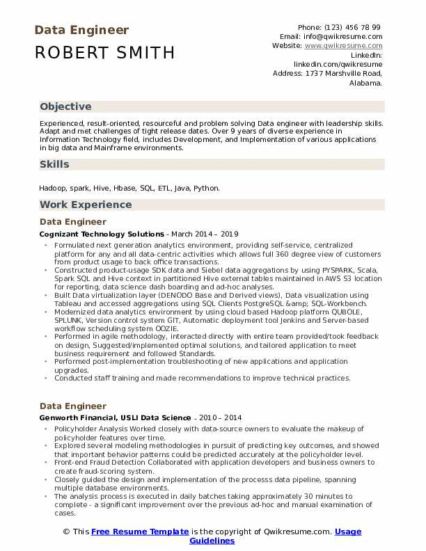 data engineer resume samples qwikresume objective for technical pdf subject line email Resume Objective For Technical Resume