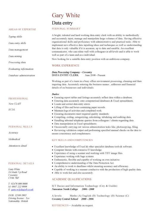 data entry cv sample accurate experience of working in busy office encoder job Resume Data Encoder Job Description Resume