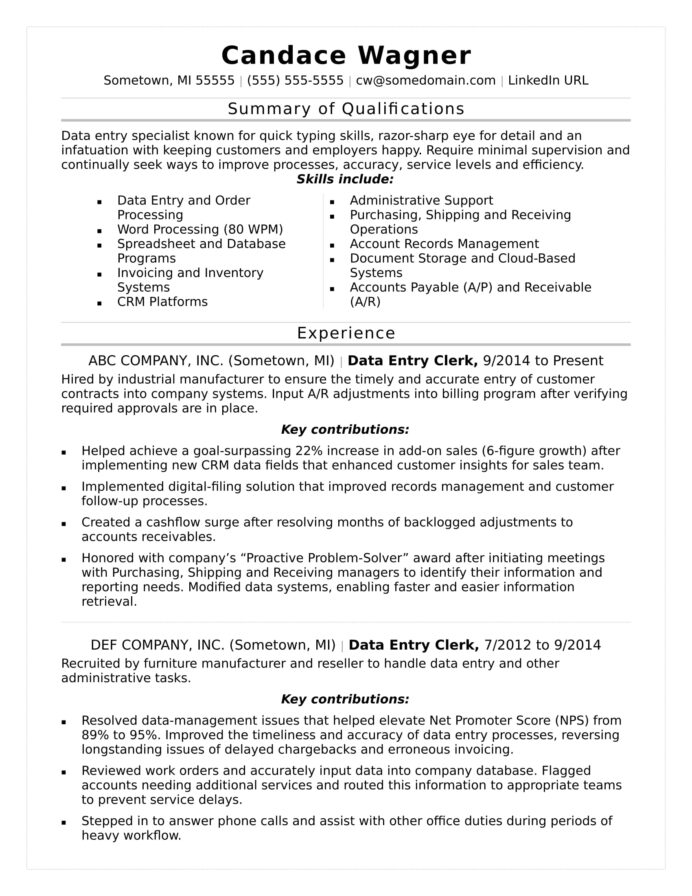 data entry resume sample monster skills summary for graduate assistant copy editor high Resume Skills Summary For Resume