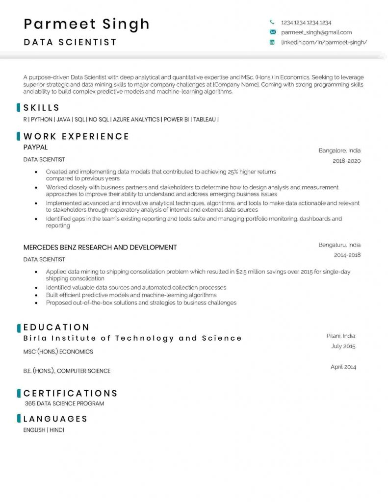 data scientist resume sample and template science 791x1024 selection criteria writers Resume Resume Data Scientist Template