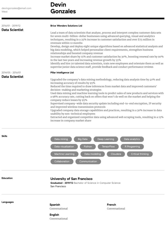 data scientist resume samples all experience levels science template intermediate for Resume Resume Data Scientist Template