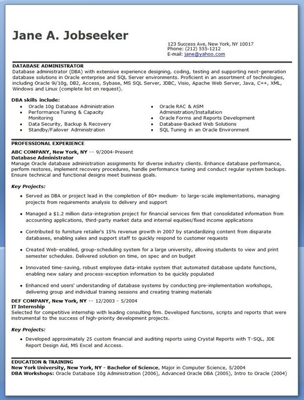 database administrator resume sample downloads cover letter for oracle skills template Resume Oracle Dba Skills Resume