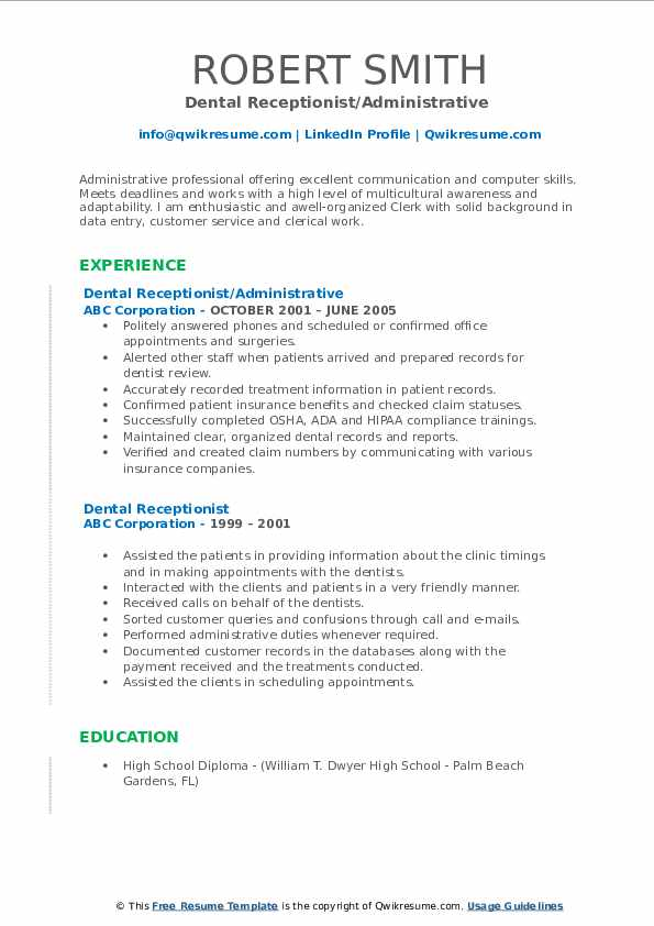 dental receptionist resume samples qwikresume administration pdf private home health aide Resume Dental Administration Resume