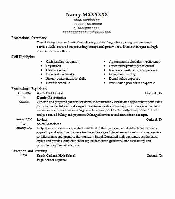 dentist receptionist resume example resumes livecareer dental administration private home Resume Dental Administration Resume