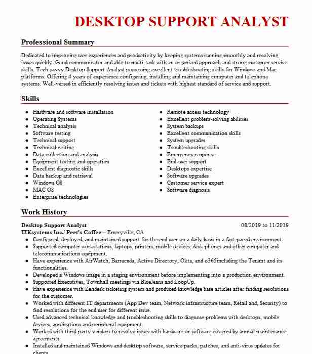 desktop support analyst resume example resumes livecareer system corrections examples Resume System Support Analyst Resume