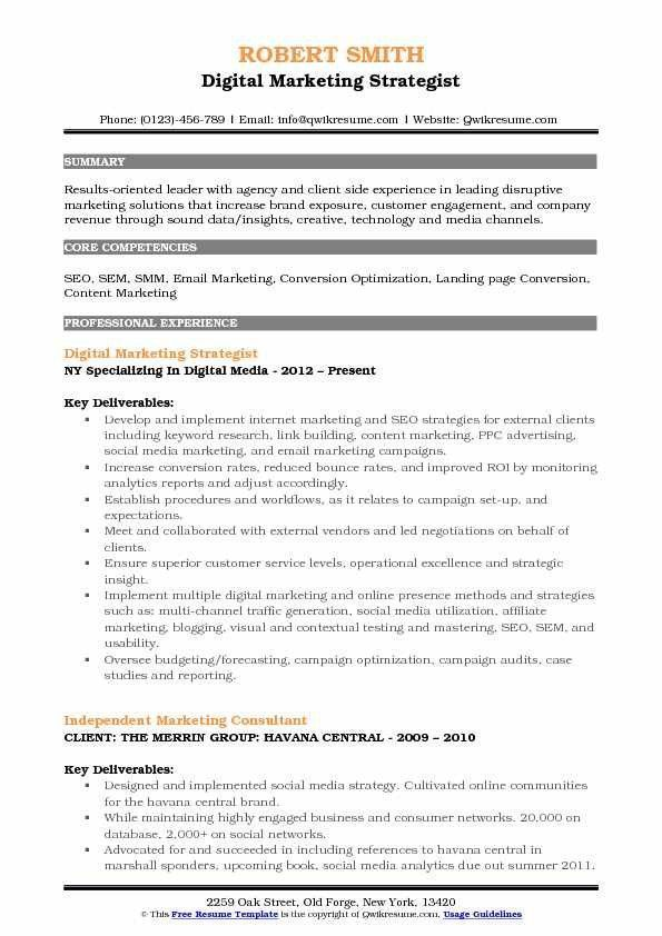 digital marketing resume example famous strategy seven important facts that yo customer Resume Marketing Strategist Resume Sample