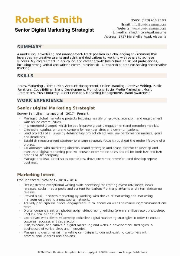 digital marketing resume example unique strategist samples examples manager sample entry Resume Marketing Strategist Resume Sample