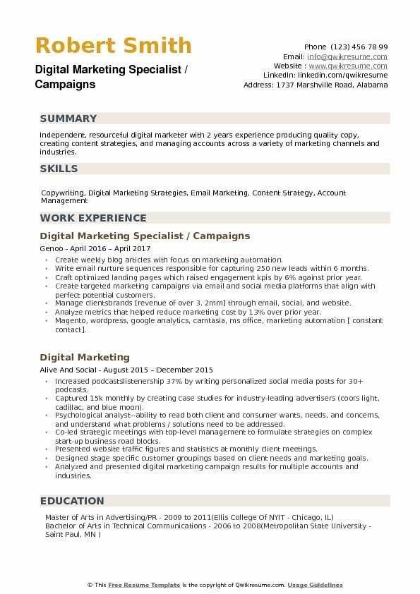 digital marketing resume example very good specialist samples of examples sample quotes Resume Digital Marketing Resume Sample