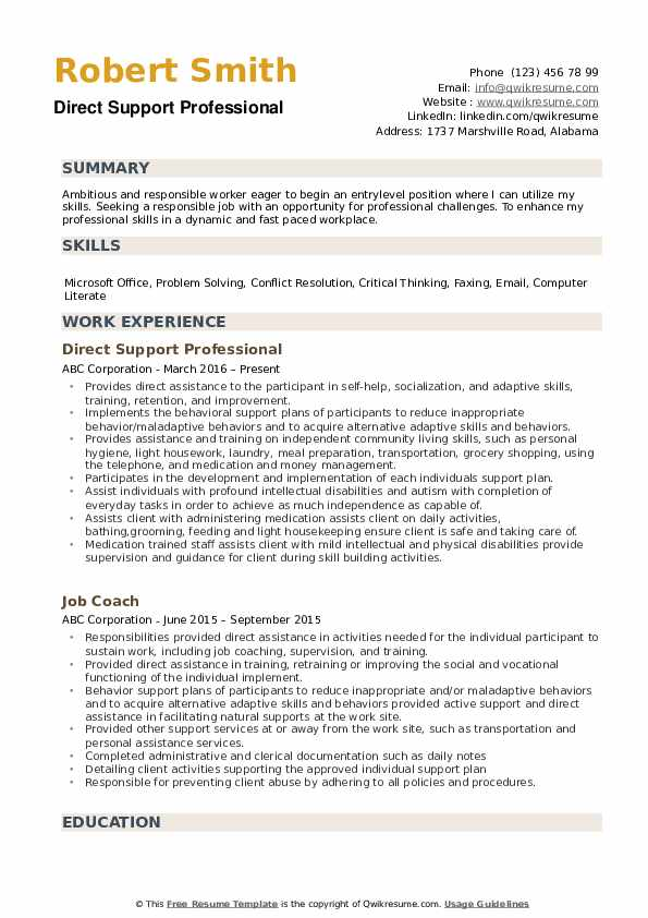 direct support professional resume samples qwikresume template pdf beginner examples Resume Direct Support Professional Resume Template