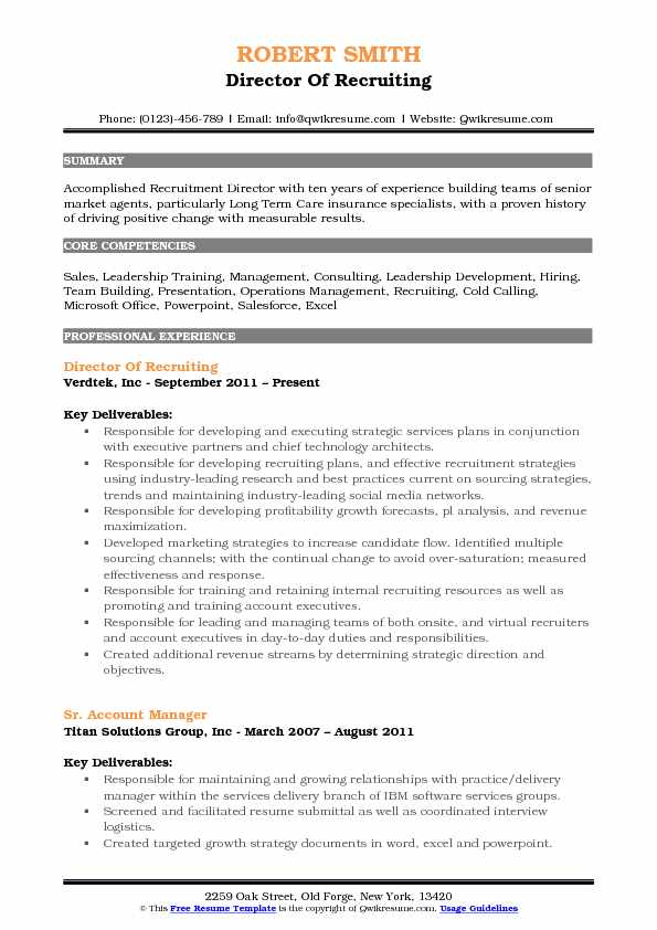 director of recruiting resume samples qwikresume talent acquisition pdf closing statement Resume Director Of Talent Acquisition Resume