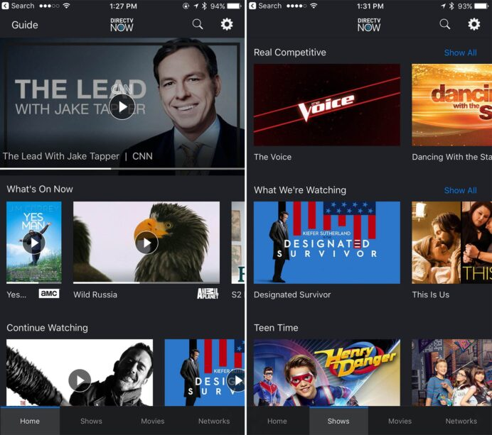 directv now ios home and shows views as seen on the iphone streaming tv live internet Resume Directv Resume Watching