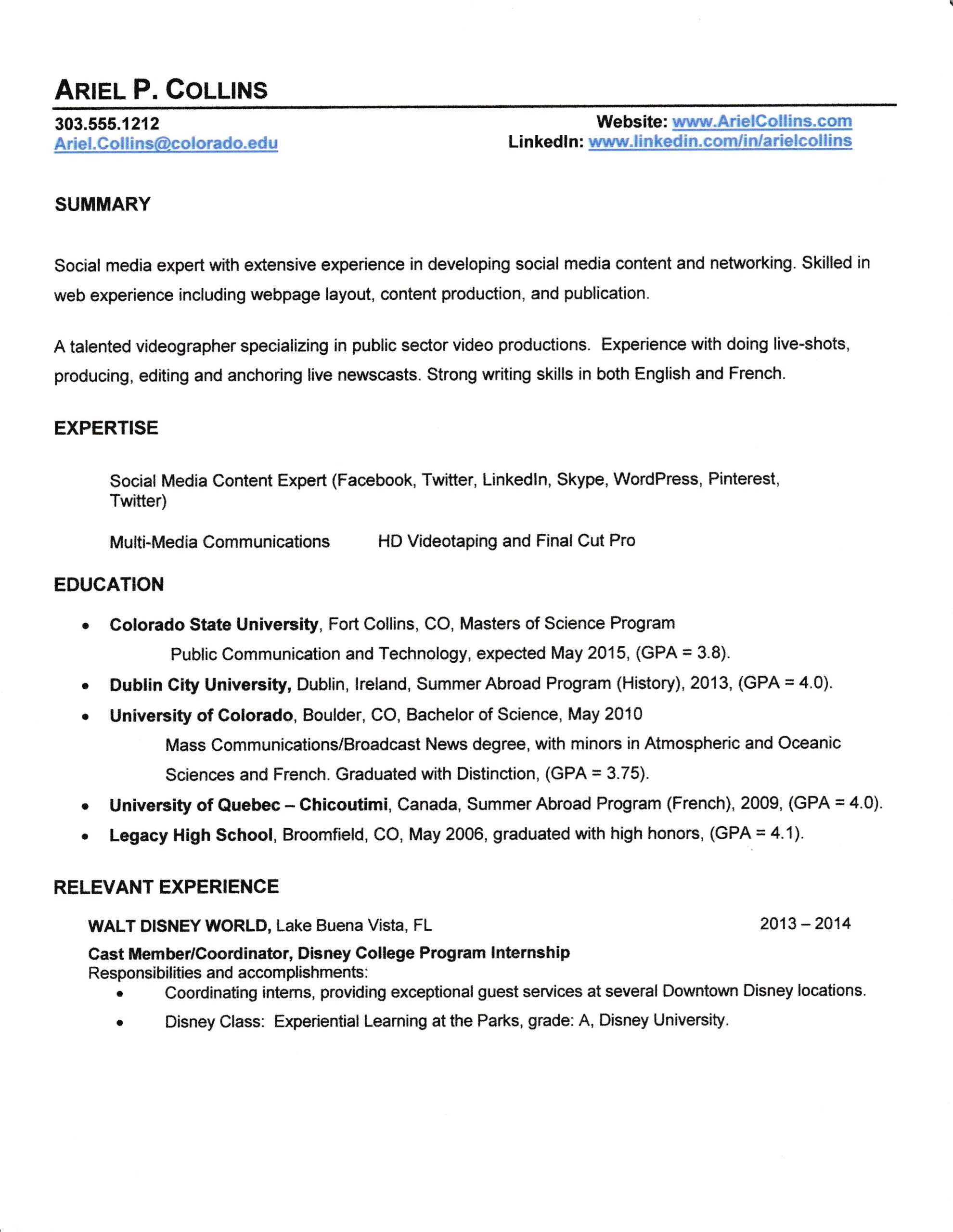disney casting our magical moments college program qsfb resume electrical engineer Resume Disney College Program Qsfb Resume