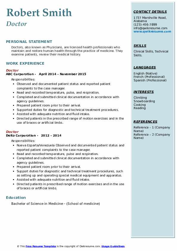 doctor resume samples qwikresume template word pdf general objective for job fair sap Resume Doctor Resume Template Word
