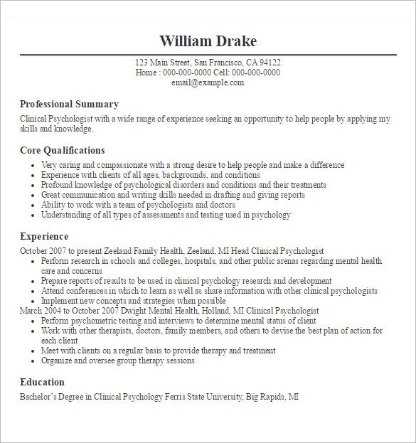 doctor resume templates free samples examples format premium template word psychologist Resume Doctor Resume Template Word