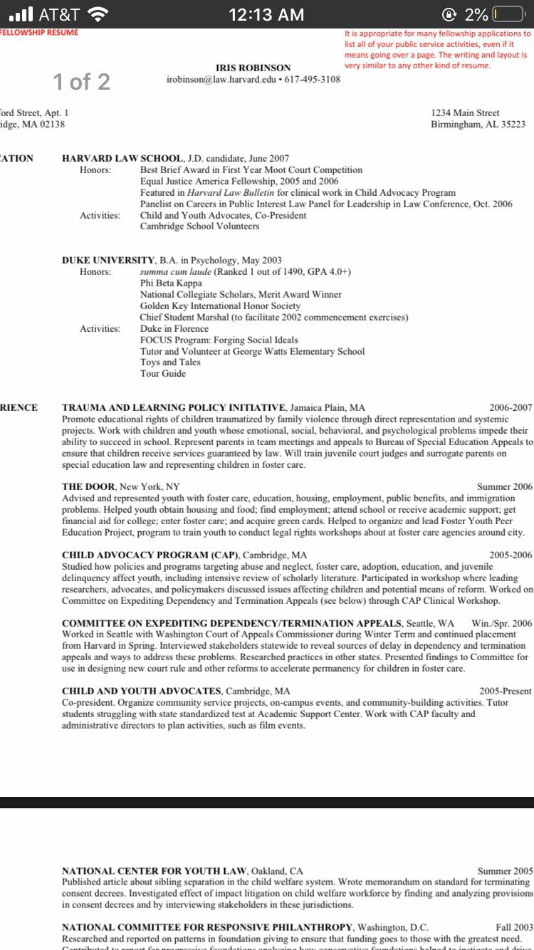 does this sample from harvard law look weird to anyone else should copy it since is after Resume Harvard Law School Application Resume