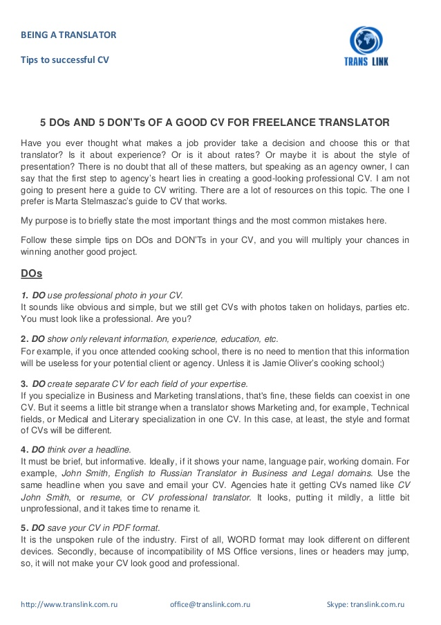 dos and don ts of good cv for freelance translator technical resume donts entry level job Resume Technical Translator Resume