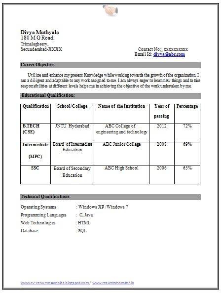 education qualification table format in resume cv primary school teacher activity Resume Resume Qualification Format