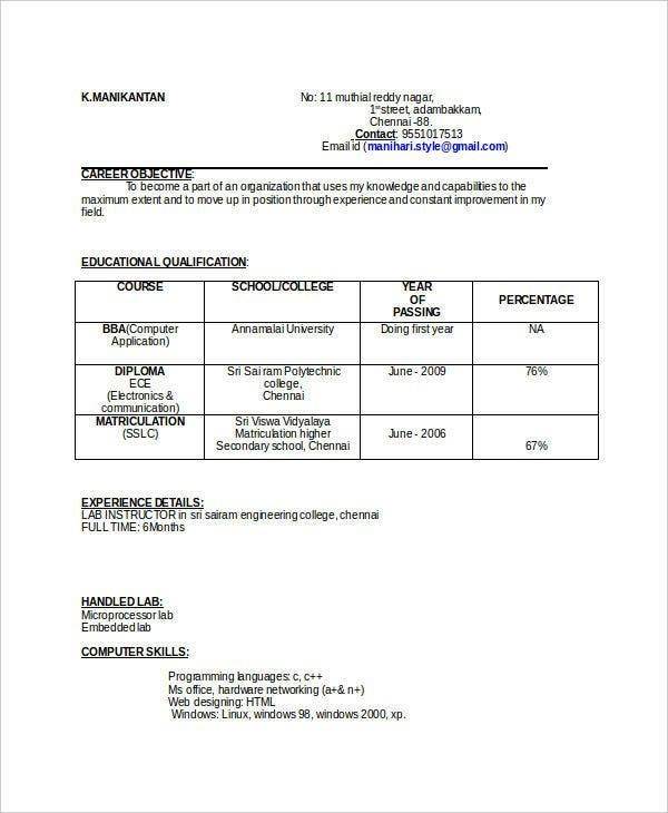educational qualification table format for resume best examples template format11 layout Resume Resume Qualification Format