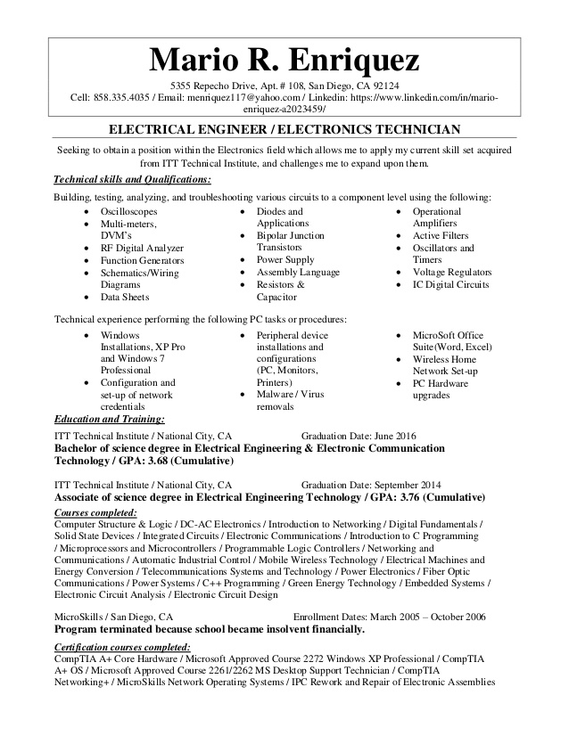 electrical engineer electronics technician resume electronic engineering technology Resume Electronic Engineering Technology Resume