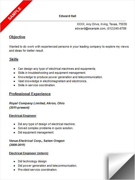 electrical engineer resume sample electricity engineering electronic technology faking Resume Electronic Engineering Technology Resume