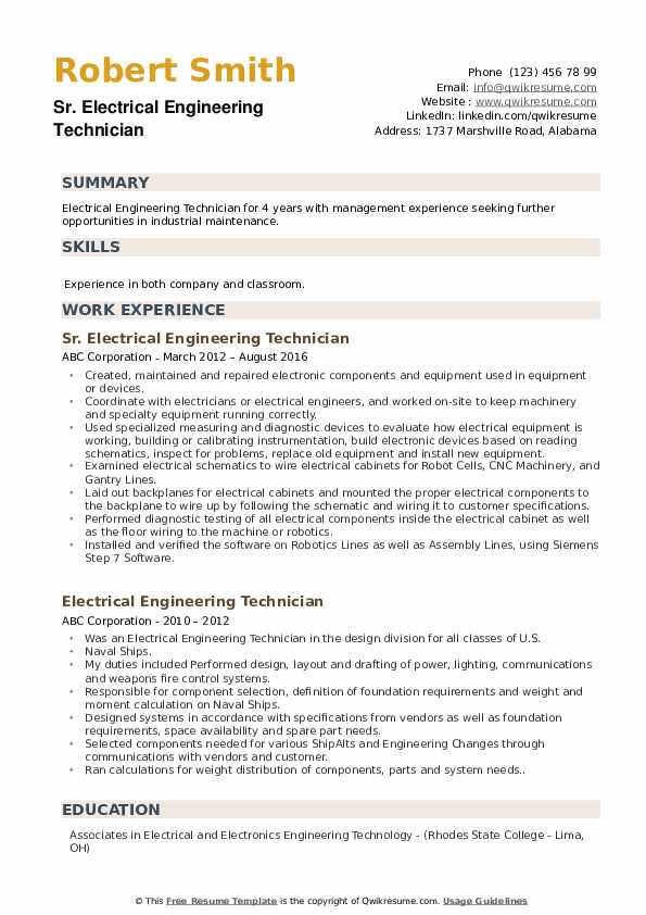 electrical engineering technician resume samples qwikresume electronic technology pdf Resume Electronic Engineering Technology Resume