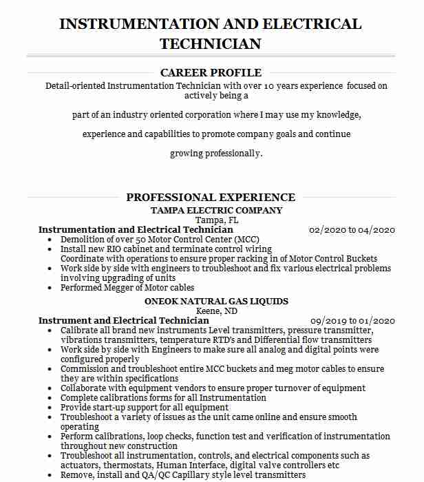 electrical instrumentation supervisor resume example wsacc mount pleasant north carolina Resume Electrical And Instrumentation Supervisor Resume