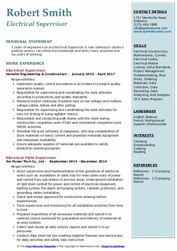electrical supervisor resume samples qwikresume and instrumentation pdf employment tom Resume Electrical And Instrumentation Supervisor Resume