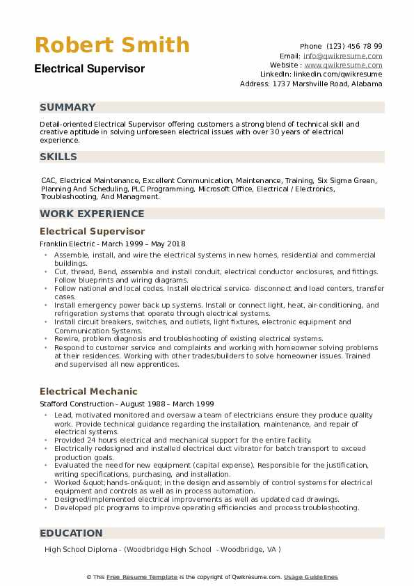 electrical supervisor resume samples qwikresume and instrumentation pdf parser npm simple Resume Electrical And Instrumentation Supervisor Resume