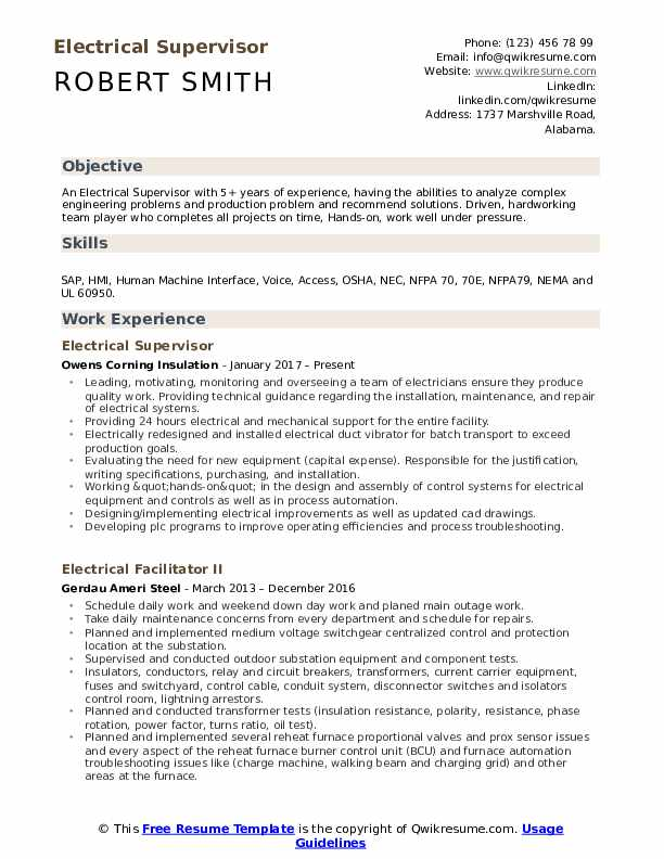 electrical supervisor resume samples qwikresume and instrumentation pdf simple template Resume Electrical And Instrumentation Supervisor Resume