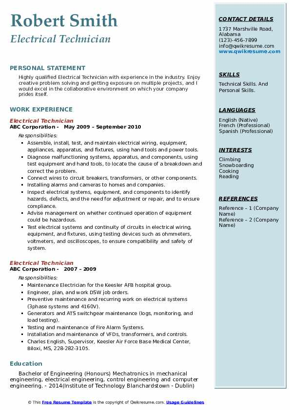 electrical technician resume samples qwikresume electronic engineering technology pdf Resume Electronic Engineering Technology Resume