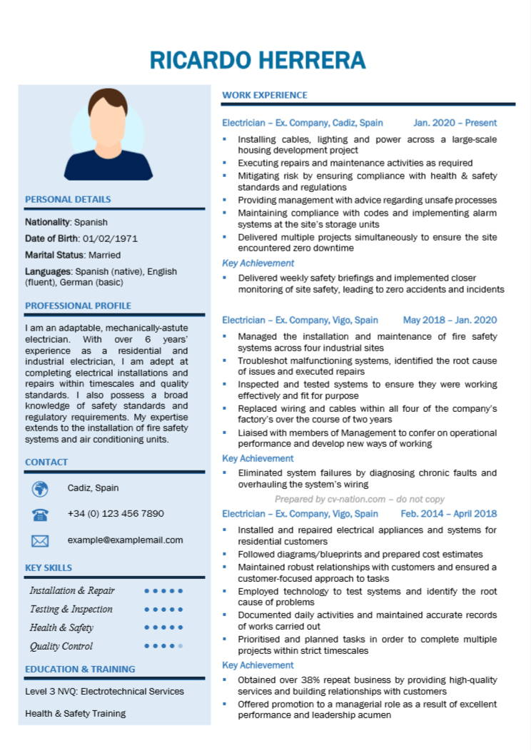 electrician cv examples and writing guide nation resume objective statement best font Resume Electrician Resume Objective Statement