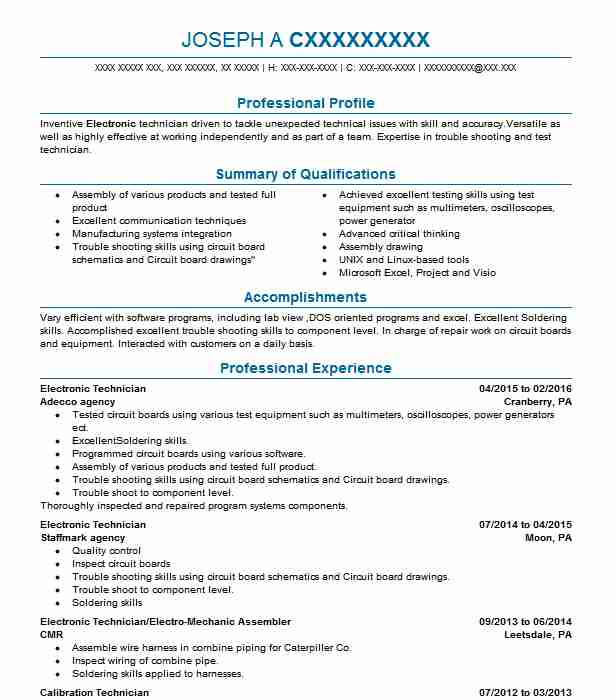 electronic technician resume example electronics resumes livecareer engineering Resume Electronic Engineering Technology Resume