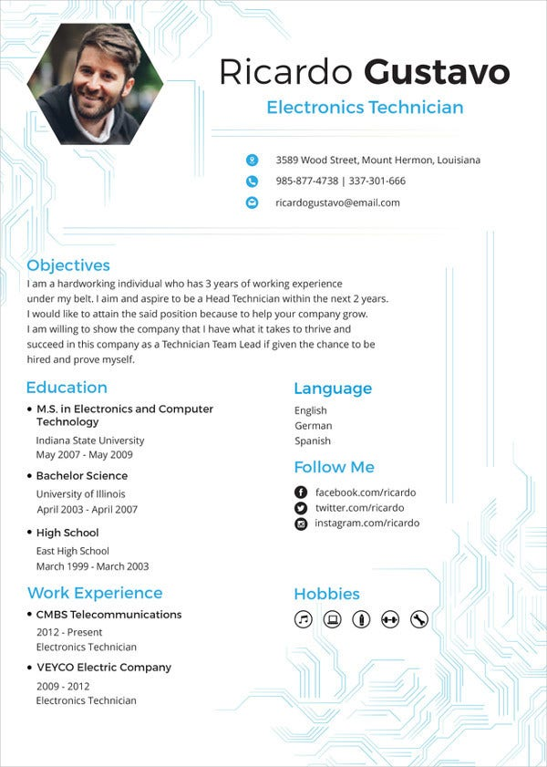 electronics resume template free word pdf document downloads premium templates for Resume Ece Resume For Freshers