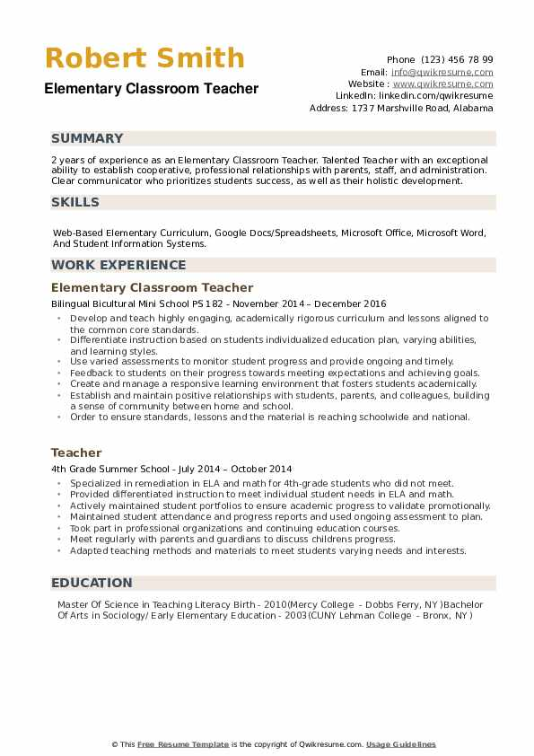 elementary classroom teacher resume samples qwikresume examples teachers pdf canva Resume Resume Examples Elementary Teachers