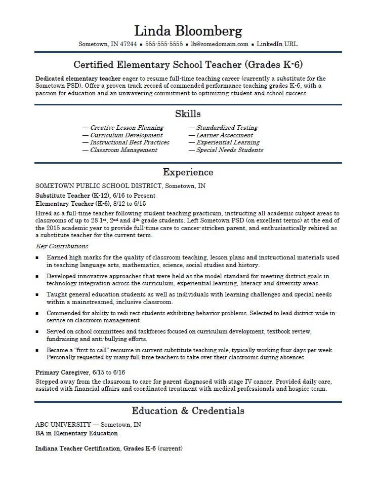 elementary school teacher resume template monster examples teachers server responsibility Resume Resume Examples Elementary Teachers