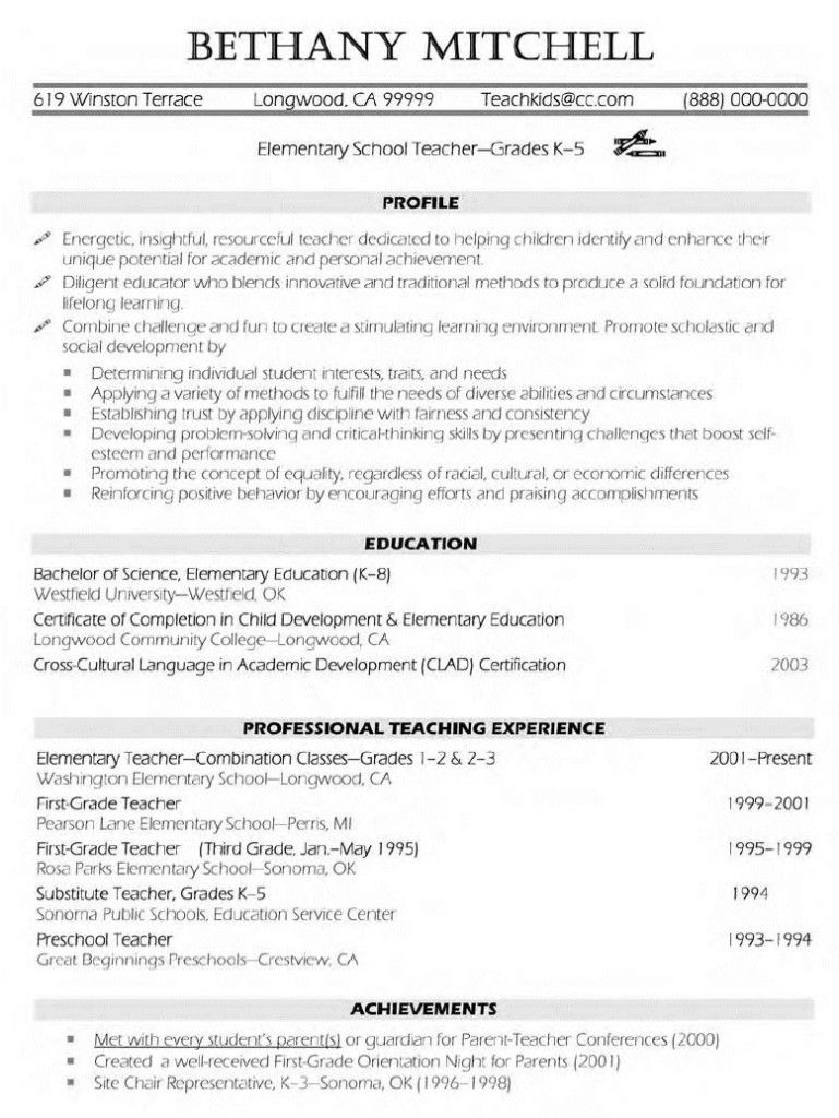 elementary teacher resume examples free templates template teaching teachers japanese Resume Resume Examples Elementary Teachers