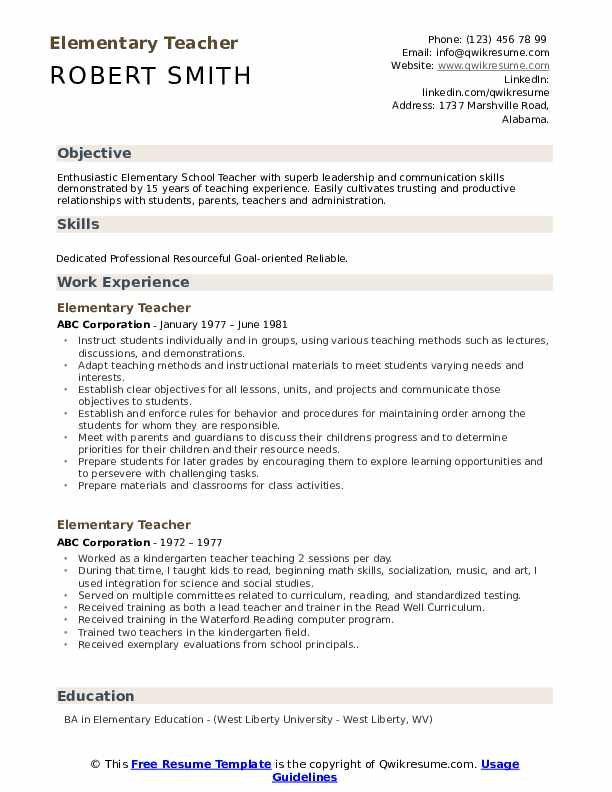 elementary teacher resume samples qwikresume examples teachers pdf medical science Resume Resume Examples Elementary Teachers