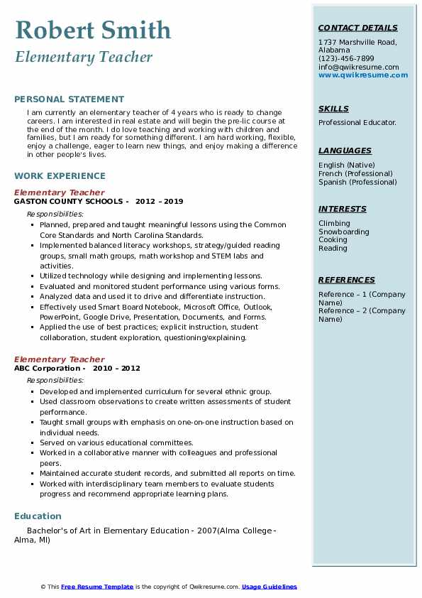 elementary teacher resume samples qwikresume examples teachers pdf optimal cornell great Resume Resume Examples Elementary Teachers
