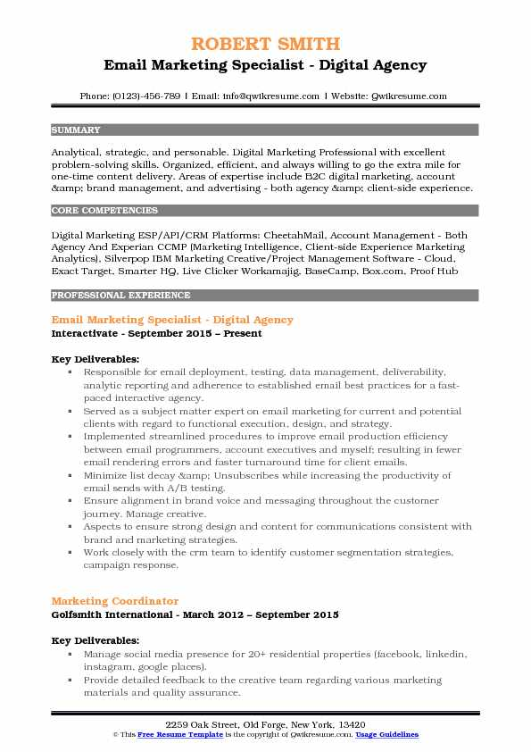 email marketing specialist resume samples qwikresume pdf freelance writer text box double Resume Cloud Specialist Resume