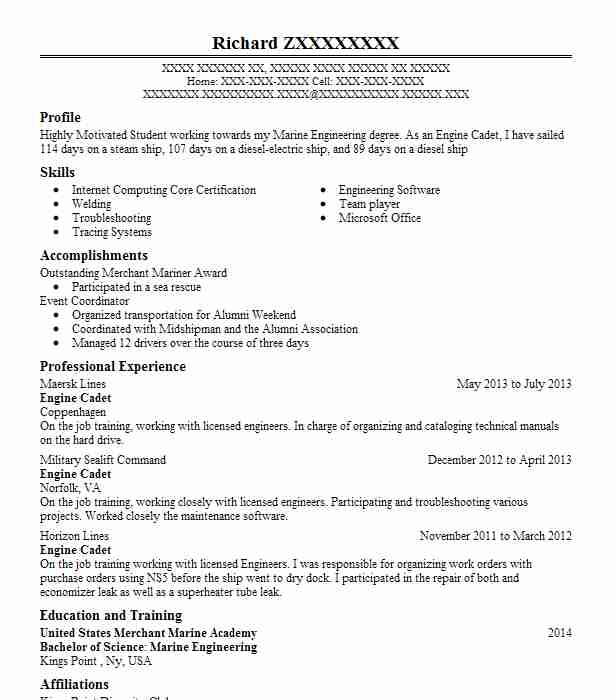 engine cadet resume example man maritime inc new haven cover letter format for marine Resume Cover Letter Format For Resume For Marine Engineer