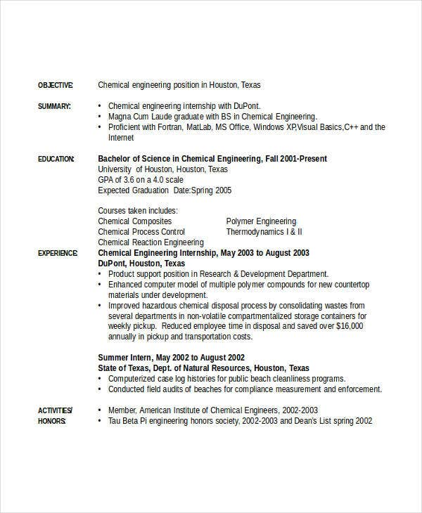 engineering resume template free word documents premium templates internship chemical Resume Engineering Internship Resume