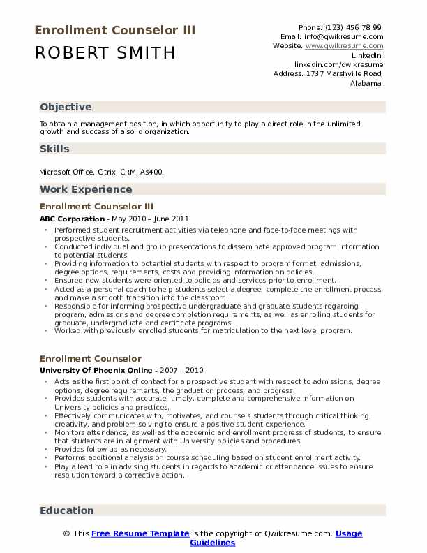 enrollment counselor resume samples qwikresume pdf entry level objective for examples Resume Enrollment Counselor Resume