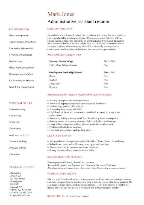 entry level administrative assistant resume template admin work experience pic student ta Resume Admin Work Experience Resume