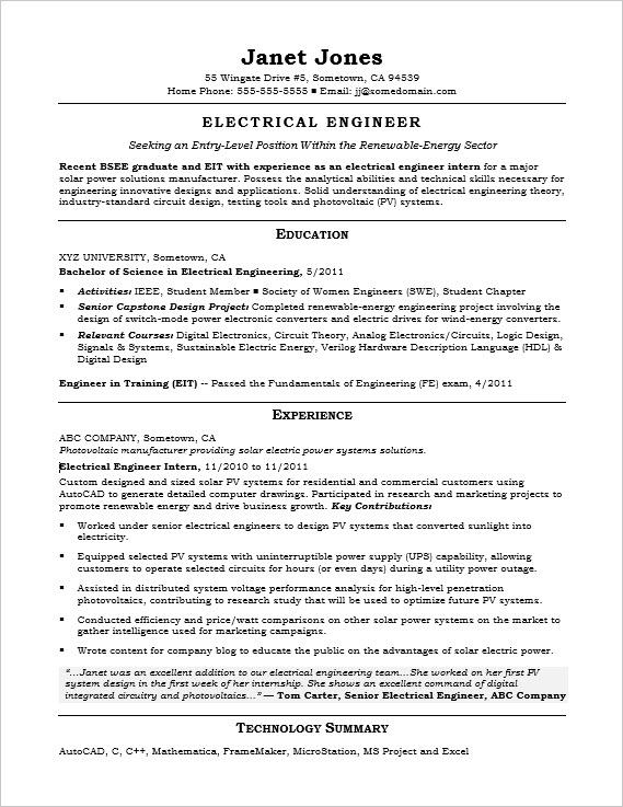 entry level electrical engineer sample resume monster engineering intern supply chain Resume Engineering Intern Resume Sample