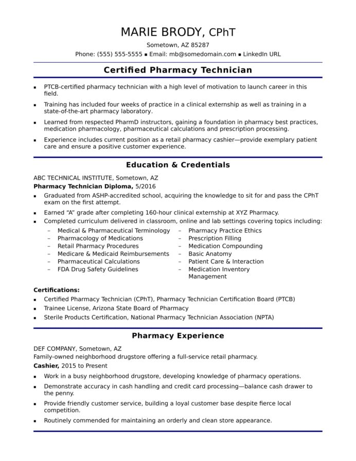 entry level pharmacy technician resume sample monster and certifications for phd Resume Resume And Certifications