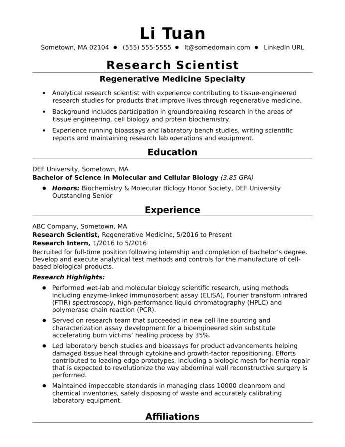 entry level research scientist resume sample monster biology examples recruiter objective Resume Biology Resume Examples