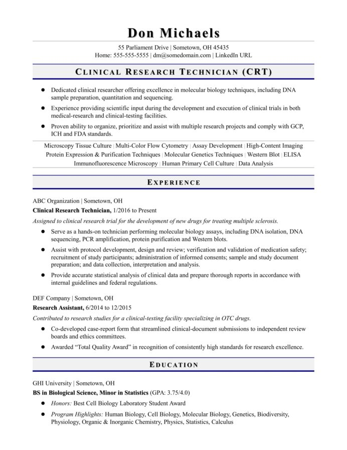 entry level research technician resume sample monster clinical format for freshers Resume Clinical Research Resume Format For Freshers