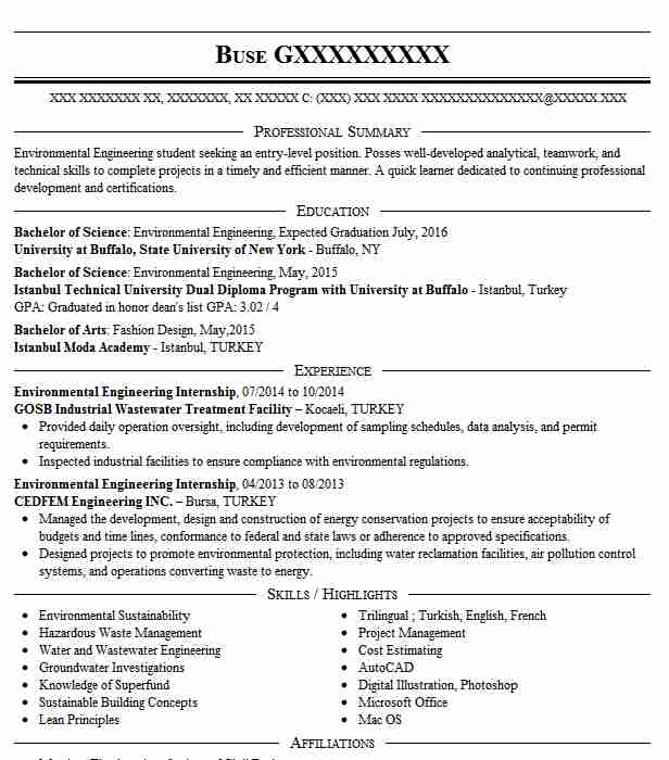 environmental engineering internship resume example sinocontech city new message for Resume Engineering Internship Resume