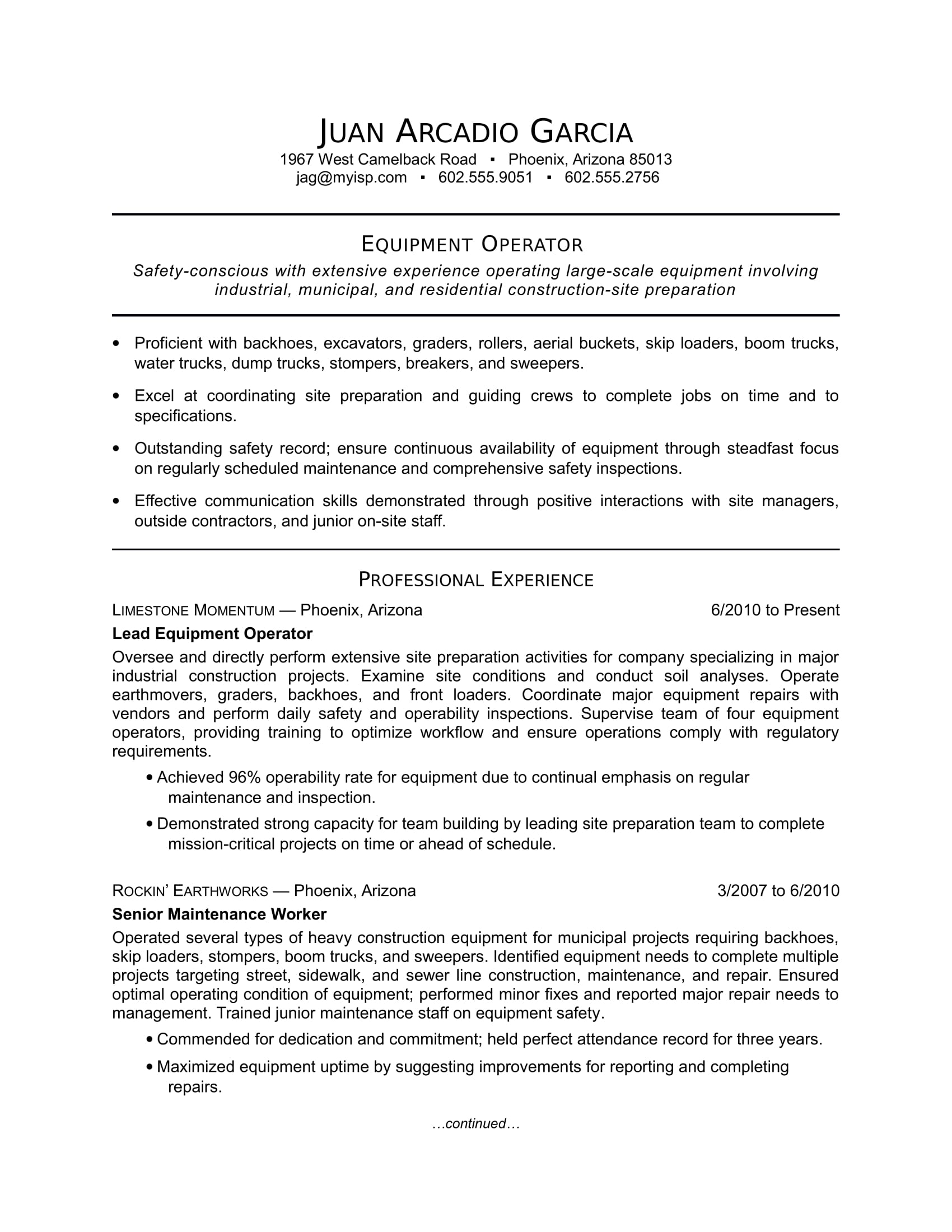 equipment operator resume sample monster for machine position skills janitor modern Resume Sample Resume For Machine Operator Position