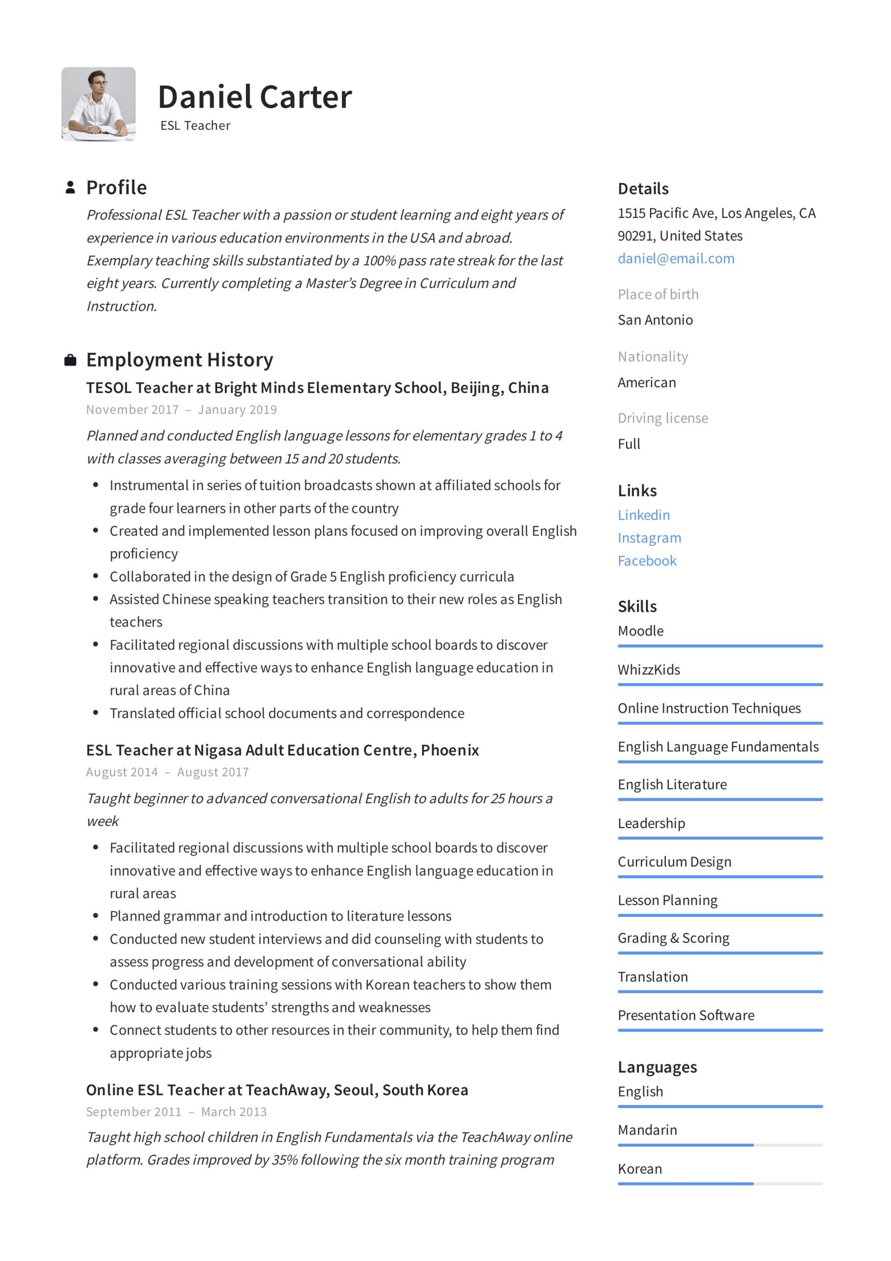 esl teacher resume examples writing guide education example entry level mechanical Resume Education Resume Examples